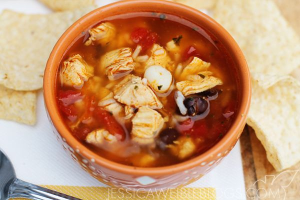 Mexican-Style Fiesta Chicken Soup, with hominy, black beans & rice!