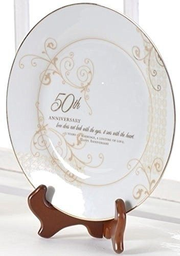 50th Wedding Anniversary Plate - Gifts Anniversary Occasions Special 61209-ROM