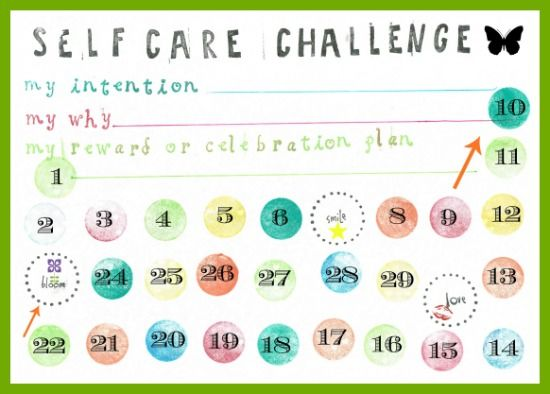Self Care Habit Change Challenge: Free Printable Card