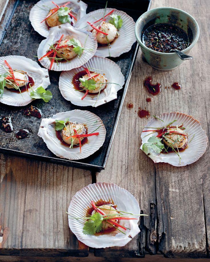 Seared scallops with tamari, lemongrass and chilli recipe by Luke Nguyen | Cooked