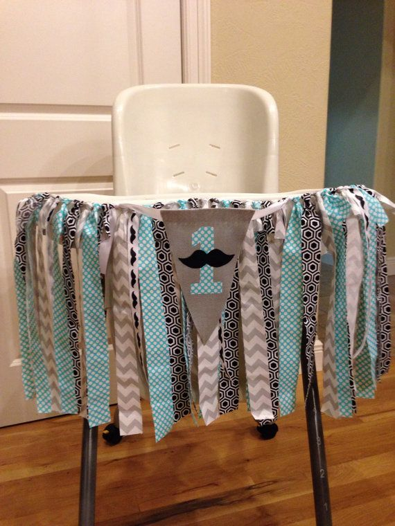 Mustache birthday banner high chair banner by TooTooCuteBoutiq