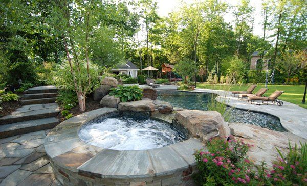 15 Fabulous Swimming Pool With Spa Designs Home Design Lover Backyard Landscaping Designs Backyard Pool Designs Backyard