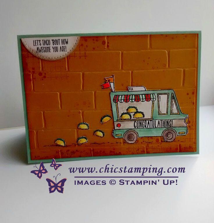 Stampin'Up! Congratulations kaart met Tasty Truck gratis SAB stempel. Voor meer informatie en bestelen, www.chicstamping.com