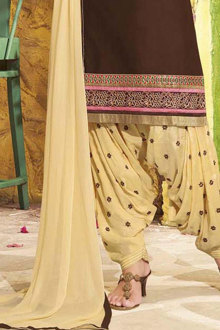 Brown Cotton Salwar Kameez Online Shopping-Z5055P5057-137