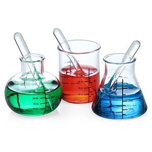 Are your favorite chemical experiments those that involve C2H6O, a bit of C6H12O6, and H2O infused with CO2? Then you'll need a set of Laboratory Shot Glasses, complete with mixing pipettes. They're the perfect gift for the geeky mixologist.