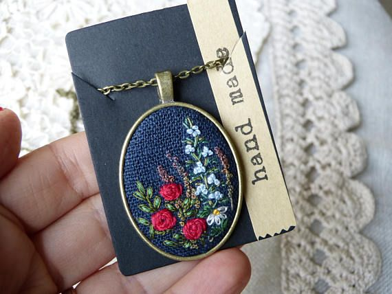Embroidered pendant wild flowers necklace Night meadow Gift