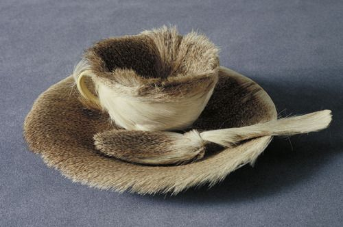 Object, fur covered cup, saucer and spoon by Meret Oppenheim, 1936.