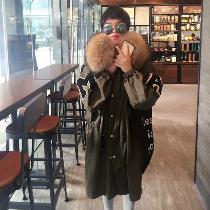 Winter Jacket Women Army Green Large Real Raccoon Fur Collar Cotton Military Jackets Hooded Parka Maxi Coats Thick Outwear C2742