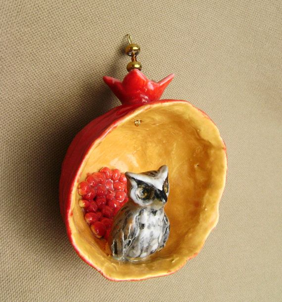 Owl in a Pomegranate Ceramic Ornament pinch by RobinChladDesigns, $35.00