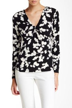 Laundry By Shelli Segal Printed Long Sleeve Matte Jersey Blouse