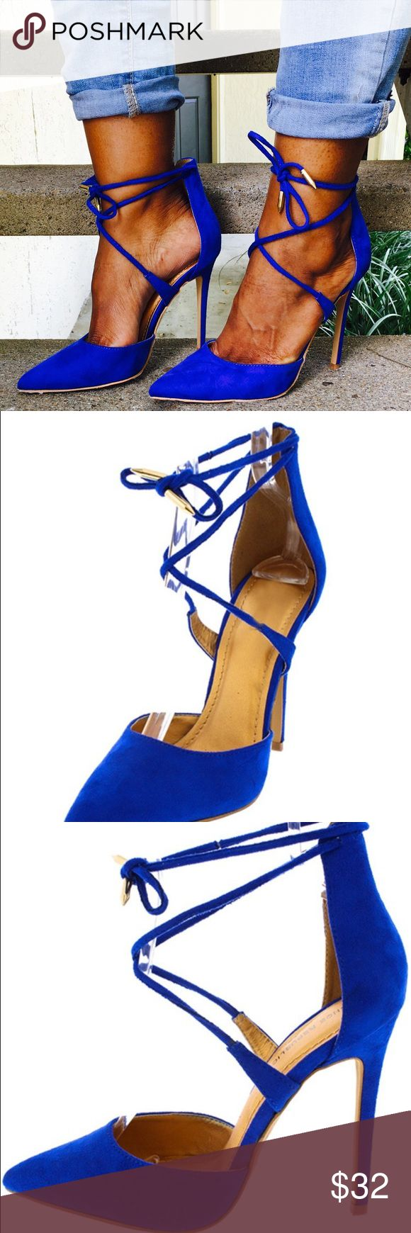 Christmas sale Cobalt Blue Strappy Heel Features a pointed toe and gold tipped lace up ankle closure Single sole and stiletto heel Man made materials. Approximate heel height 4 1/2 inches.   SHIPS SAME DAY/NEXT DAY . Shoes Heels