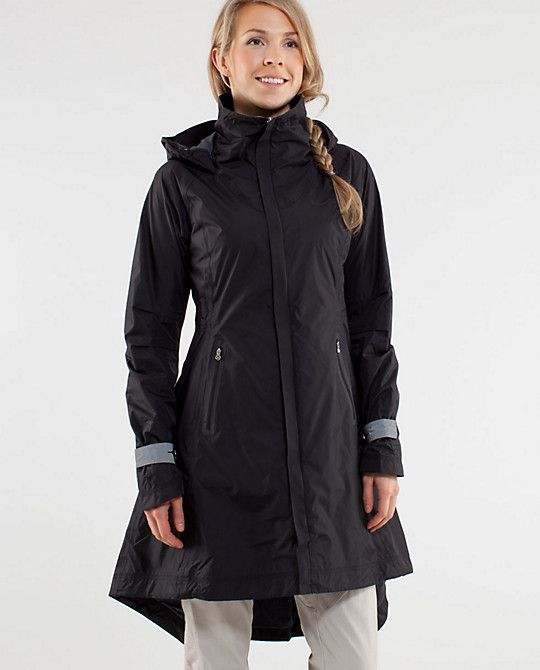 Why I love Lululemon: Aside from killer babetastic and functional yoga and running gear, they make stuff like this jacket.  It's a technical raincoat, with awesome design and it's made specifically for those of us who ride our bikes in rainy weather.  (Hello, Portland in the house.) No one else is doing stuff like this.