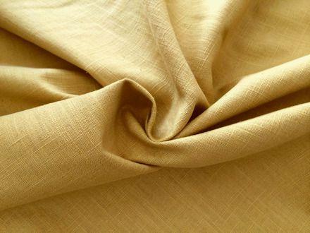Tissu 100% lin lavé jaune moutarde - Prix au mètre