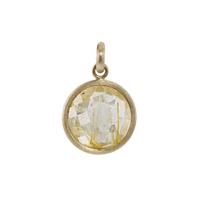 Medallion pendant in 18K yellow gold with rutile quartz | OLE LYNGGAARD COPENHAGEN