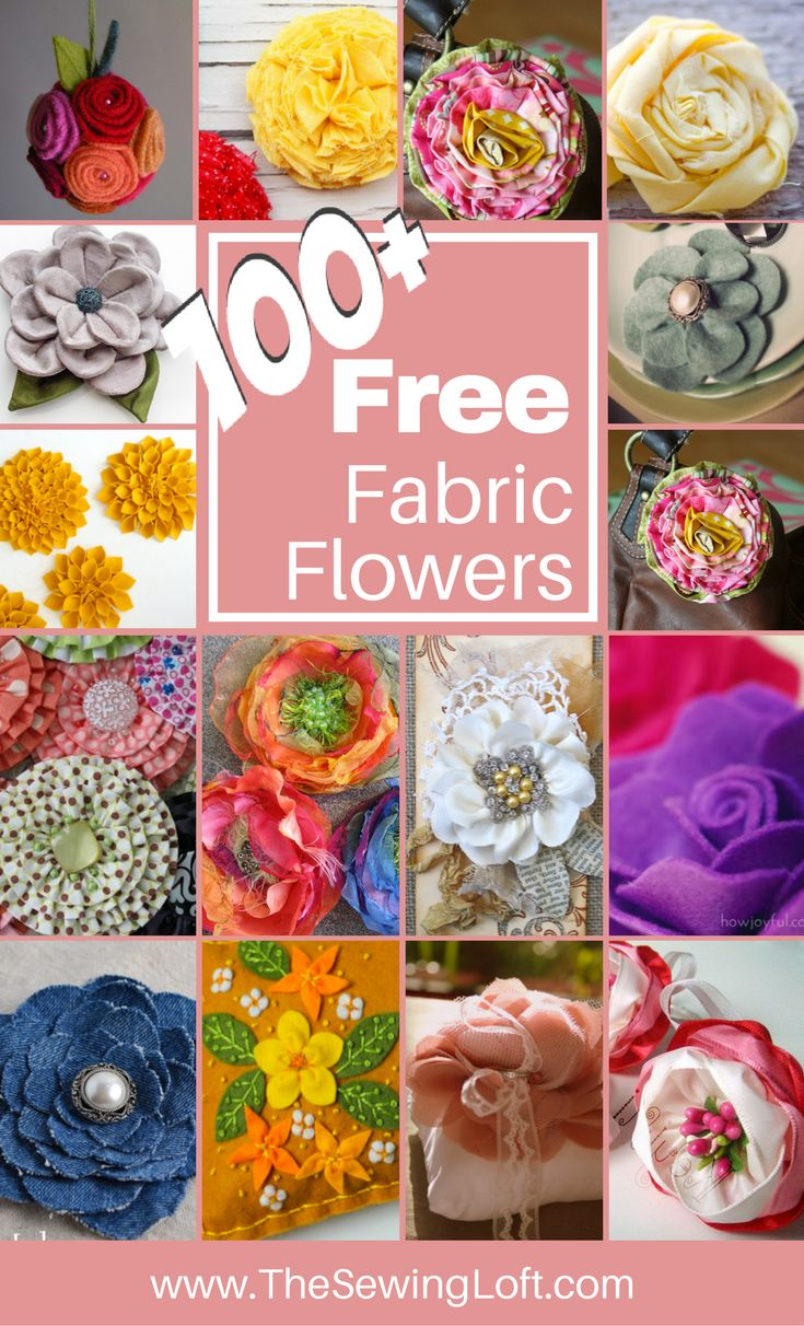 100+ DIY Fabric Flower patterns for you to make at home. Patterns are easy to make with photo instructions. Perfect for every crafter and sewing level.