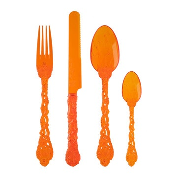 These 'flatware' sets, from Pandora, are fabulous! They come in all sorts of vivid colors for Summer entertaining, and are re-usable. Best-they're gorgeous and fun....you might want to use them all the time! With orange being one of OSU's team colors, I'd get a set for tail-gaiting in the Fall. What fun!  fab.com