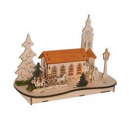 Apeleaza la o decoratiune din lemn - Craciunul in oras drept cadou de Craciun pentru mama care iubeste atmosfera de sarbatoare.