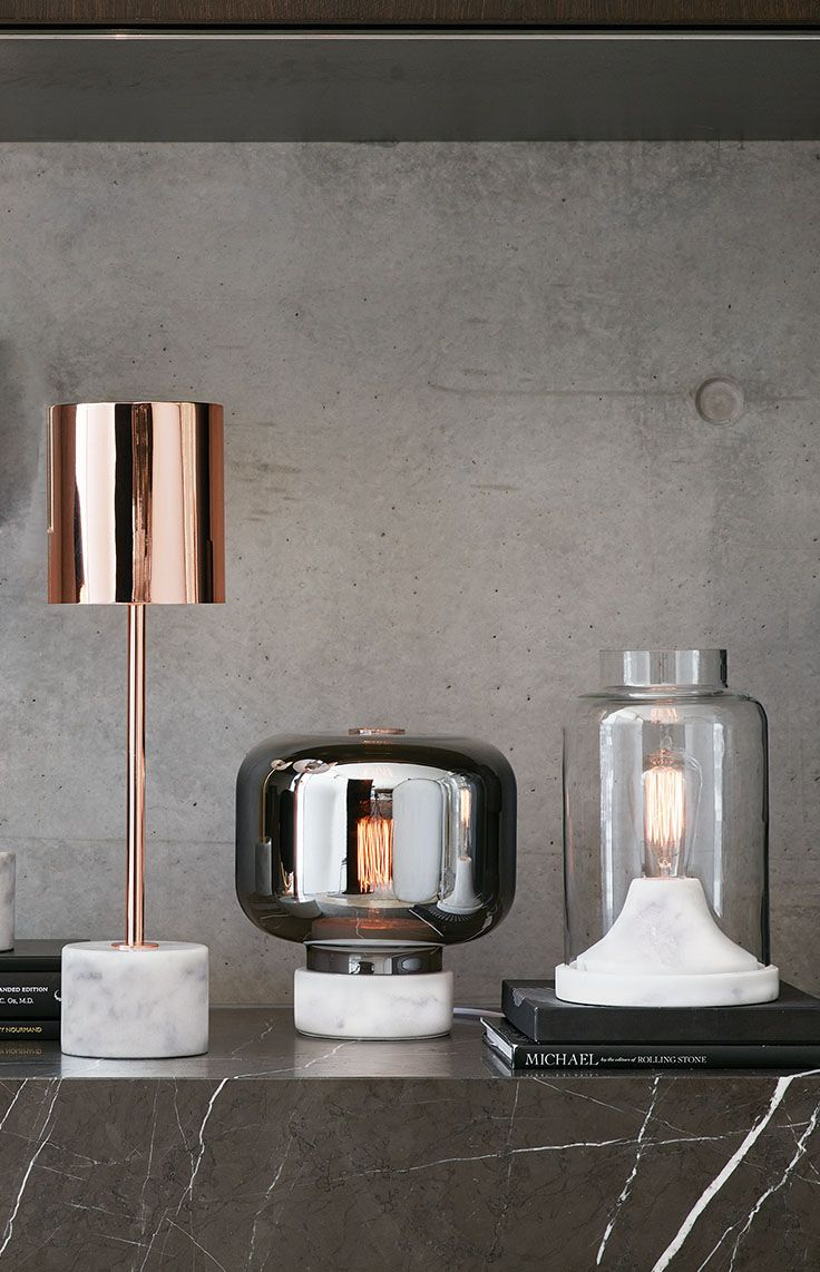 The Beacon Lighting Lowe 1 light table lamp in white marble/black/brass.