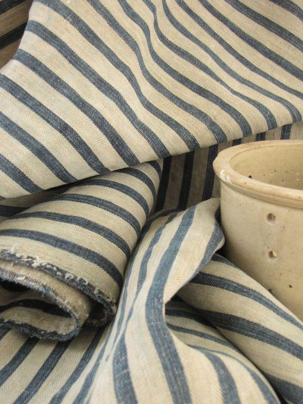 Vintage Blue Ticking Textiles Pinterest Bed Linens