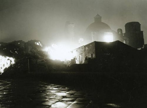 Lava flows into village of San Sebastiano al Vesuvio one night, 1944 by SMU Central University Libraries, via Flickr