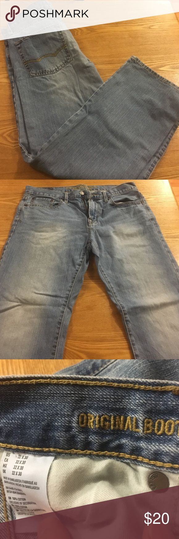 AE men's jeans American eagle original boot men's jeans. Size 32/30. Worms 1-2 times for a few hours. Husband not a fan of the fit. Fabulous condition. American Eagle Outfitters Jeans Bootcut