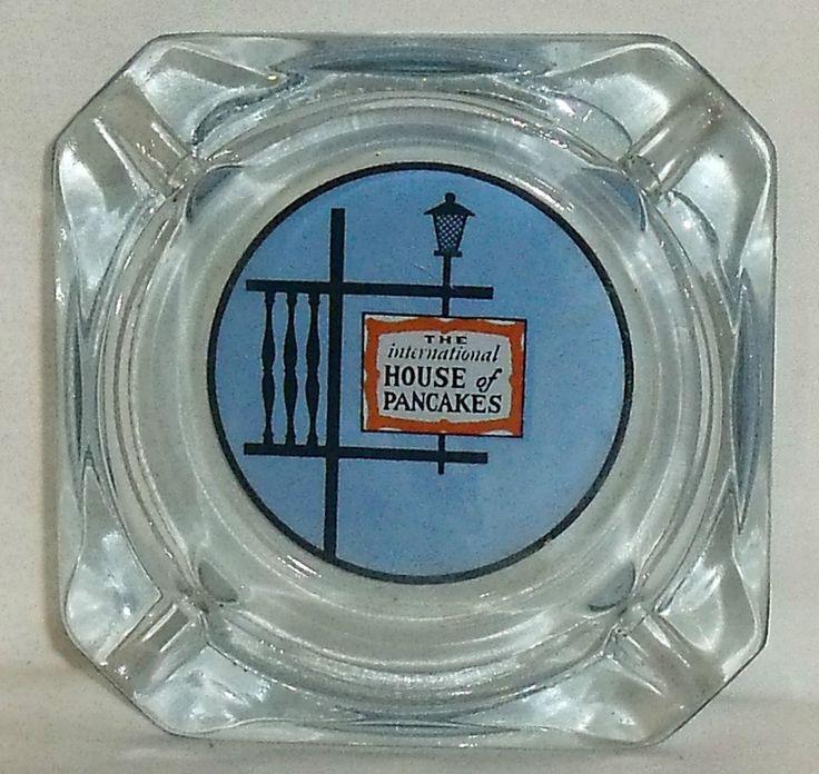 "IHOP Ashtray International House Of Pancakes Glass 3.25"" Blue Vtg FREE US Ship #IHOPInternationalHouseOfPancakes"