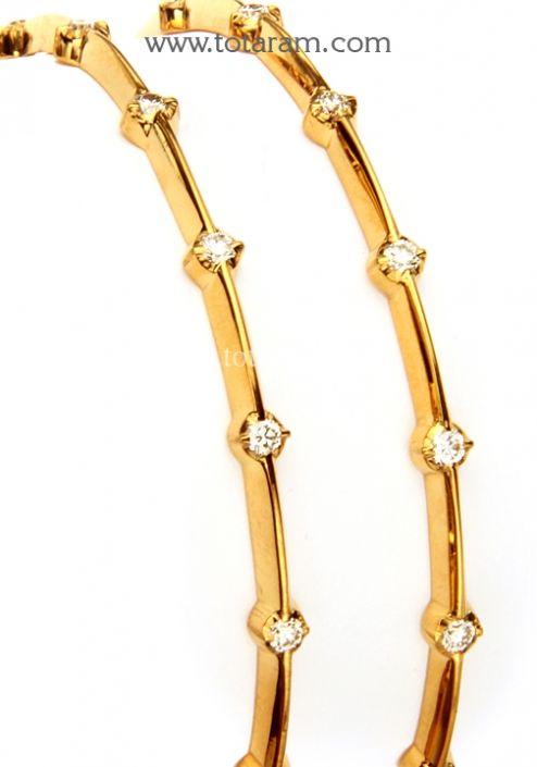 Diamond Bangles in 22K Gold: Totaram Jewelers: Buy Indian Gold jewelry
