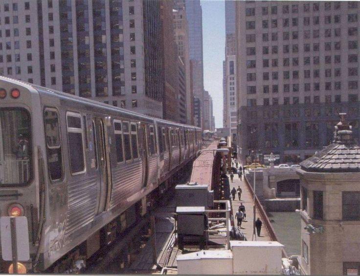 PHOTO - CHICAGO - CTA RAPID TRANSIT CROSSING WELLS STREET BRIDGE - 2012 - EDITED FROM A JAMES PHILLIPS PHOTO