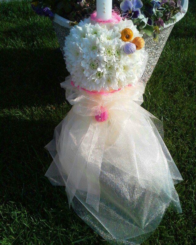 lumanare botez cu crizanteme