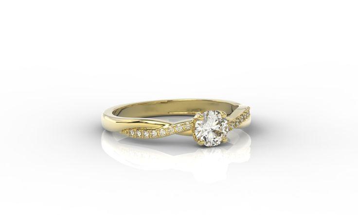 Złoty pierścionek z diamentami / Ring made from yellow gold with a diamond #jewellery #ring #gold #diamond