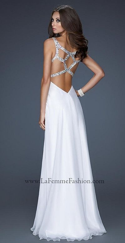 """""""another image of La Femme Chiffon Prom Dress with Unique Beaded Back Straps 17248"""" i would want this in a color other than white"""