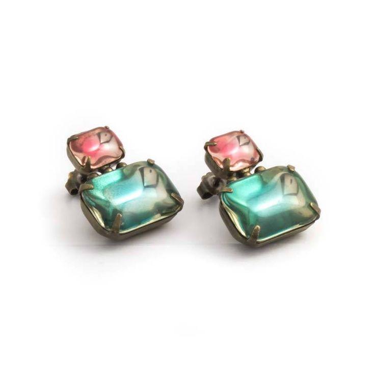 De Luxe Roze blauwe oorbellen met twee prachtige rechthoekige stenen