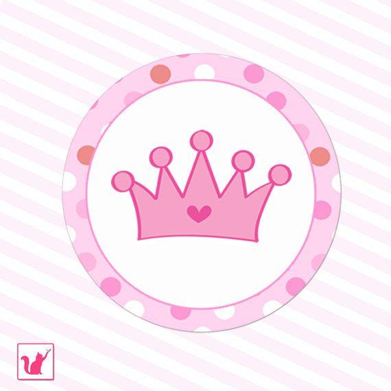 Para imprimir color de rosa caliente rosa princesa corona etiquetas - fiesta de cumpleaños de lunares bebé ducha