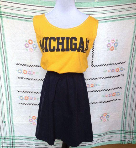 University of Michigan Game Day T Shirt Tee Dress. $26.00, via Etsy.