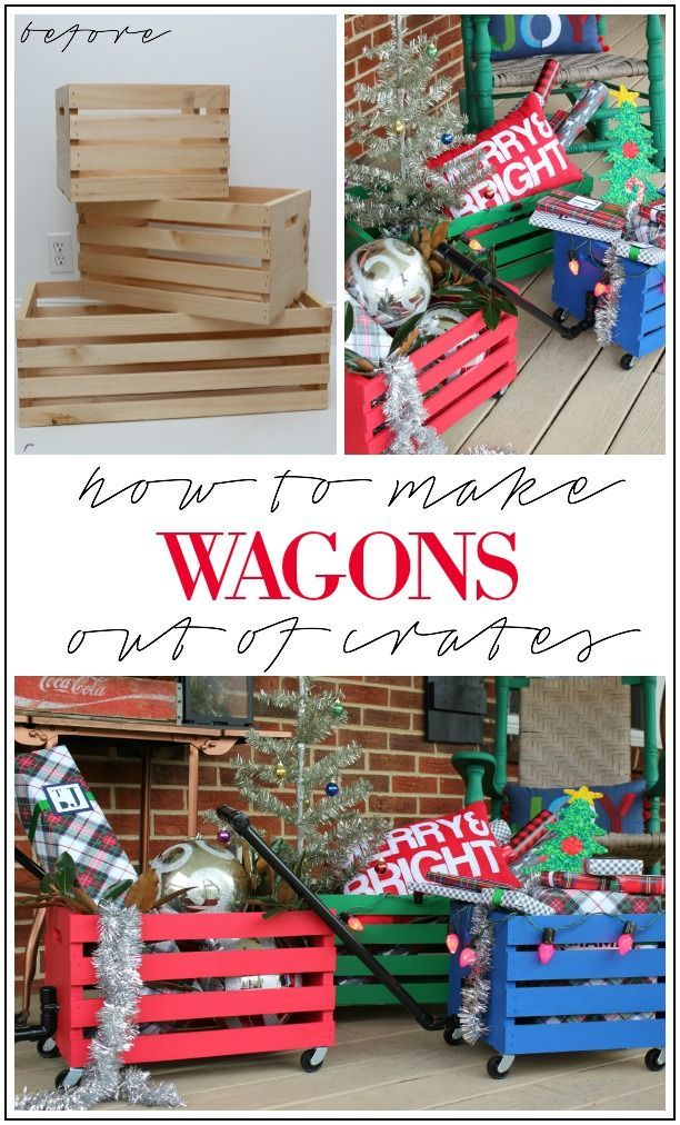 How to Make Wagons Out of Crates - Easy DIY project that kids will love to play with! Also works great to hold gifts during the holidays - doubles as holiday decor!