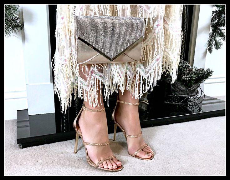 Quiz Shimmer Diamante Envelope Bag | Stephanie Pratt Sequin Flapper Maxi Dress – Cream | Lipsy Diamanté Barely There Sandals | Swarovski Earrings | Louboutin makeup
