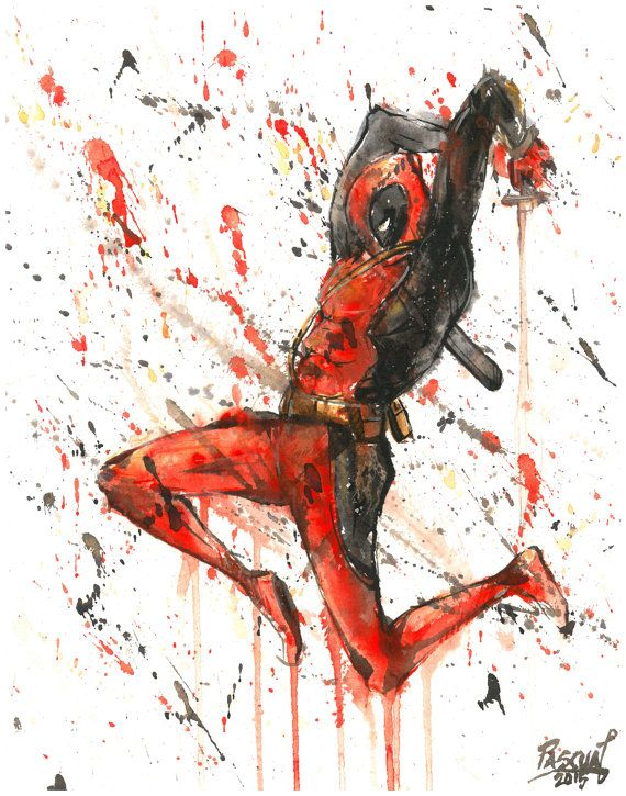 Deadpool Superhero Marvel Comics Painting by PascualProductions