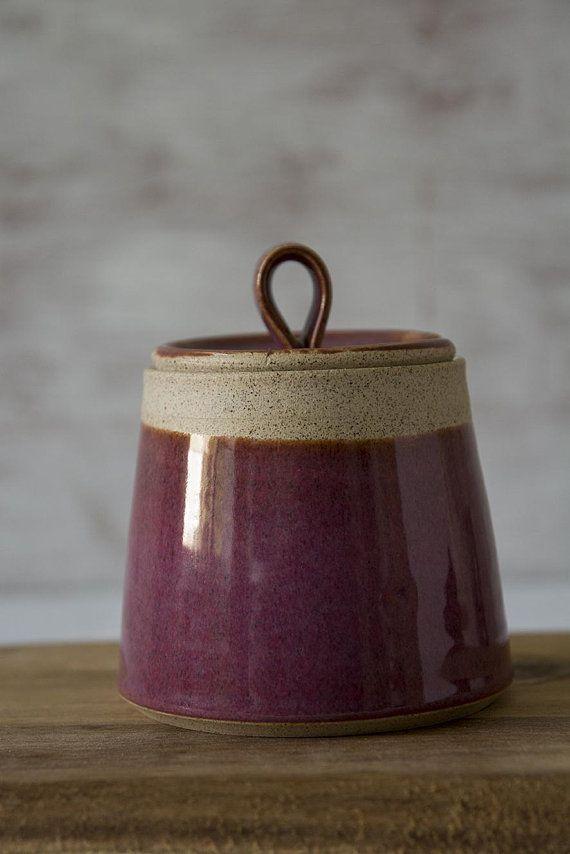 Purple Sugar Bowl Ceramic Salt Bowl Salt Container Sugar Pot