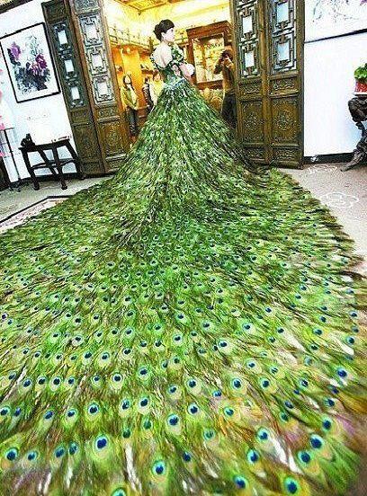 peacock wedding dress!  sooo beautiful <3 <3 <3                                                                                                                                                     More