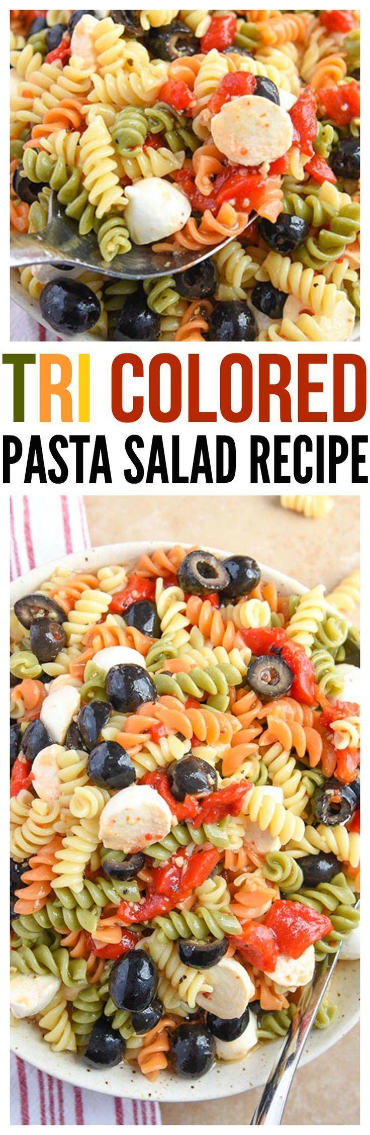 Tri Color Pasta Salad -pasta salad with Italian dressing. So easy.