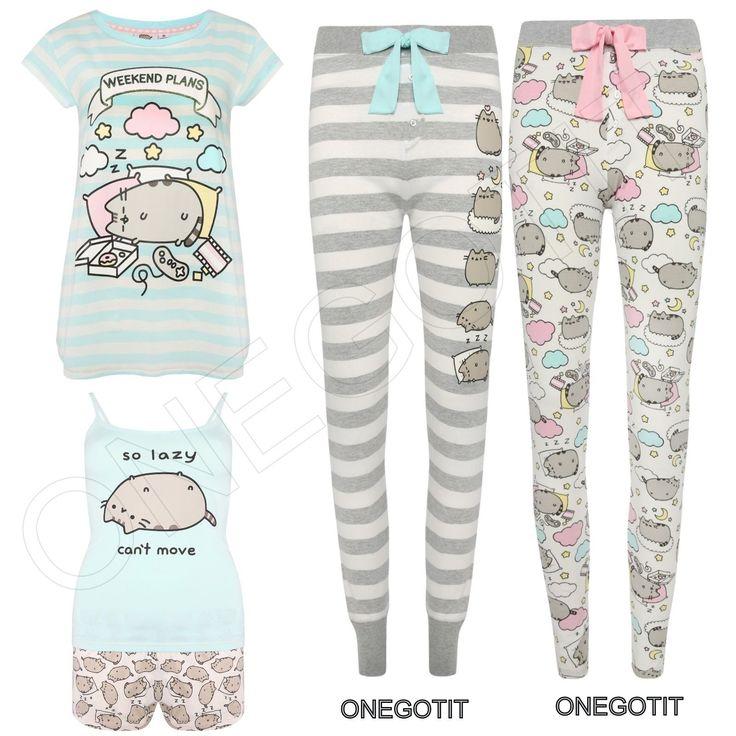 CAT PUSHEEN PRIMARK Ladies Pyjamas Set T-Shirt Legging Vest Short Girls Womens in Clothes, Shoes & Accessories, Women's Clothing, Lingerie & Nightwear, Nightwear | eBay