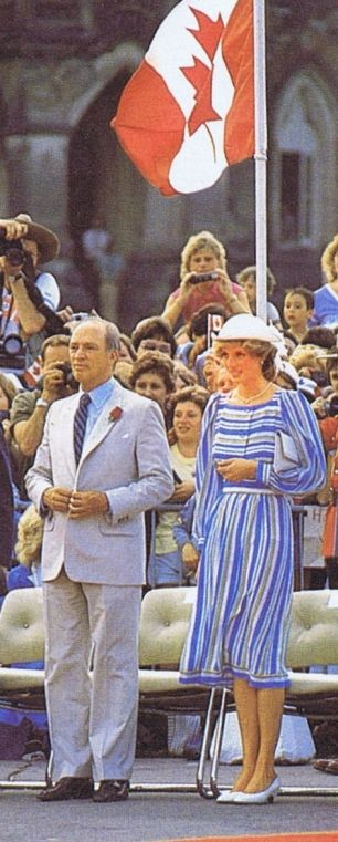 June 20, 1983:  Princess Diana next to Prime Minister Pierre Trudeau during arrival ceremonies on Parliament Hill in Ottawa, Ontario