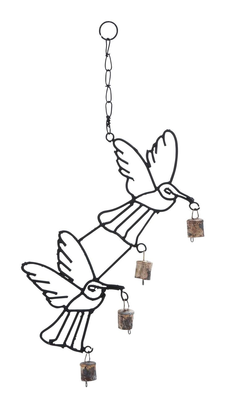 Harvey & Haley Metal Bird Wind Chime with Curvy Base