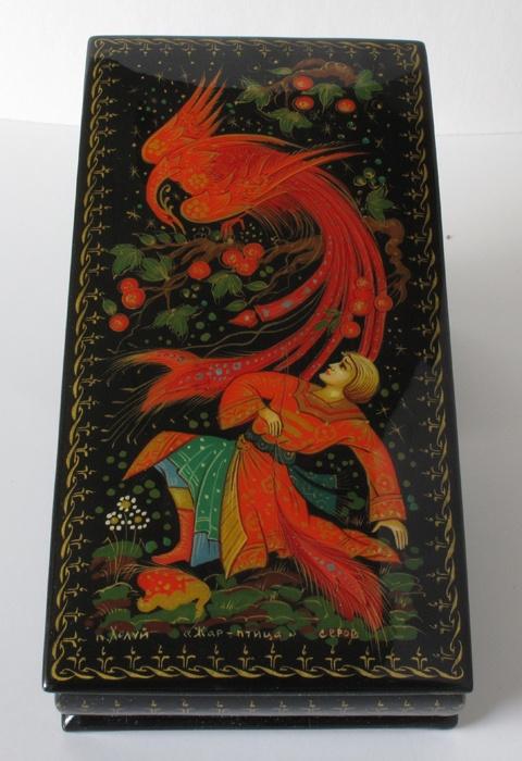 Russian Art Kholuy Kholui Lacquer Miniature Box Firebird