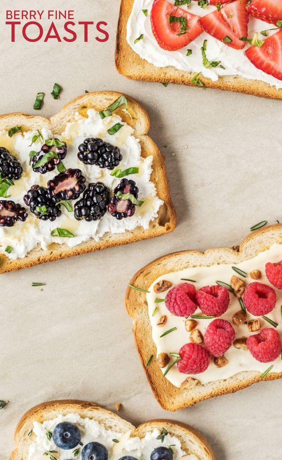 Berry Fine Toasts: Tired of toast and jam? Wake up your taste buds with toasted Brownberry Country White Bread topped with cream cheese, strawberries and basil; Goat cheese, blackberries and basil; Brie, raspberries, walnuts and rosemary; or Ricotta, blueberries and almonds.
