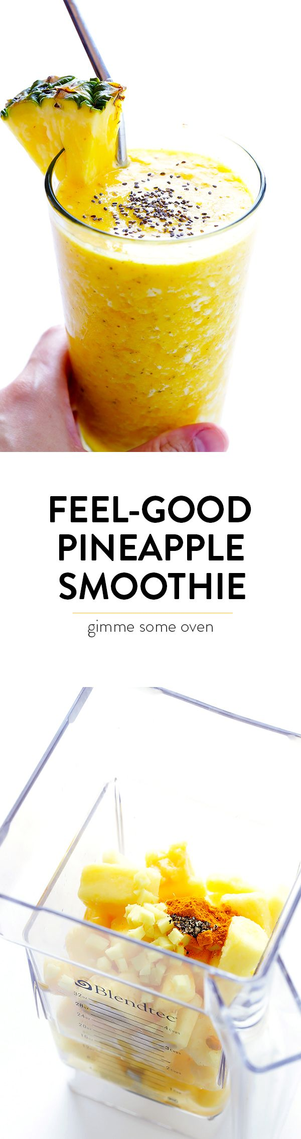 This Feel-Good Pineapple Smoothie recipe is made of deliciously sweet ingredients that also happen to have healthy anti-inflammatory benefits. | gimmesomeoven.com