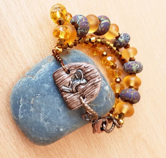 Fairy bracelet, Fairy Gate Bracelet, Citrine gemstone, Handmade gift, Polymer clay bracelet, Lamp work beads, Gift for her, female jewelry