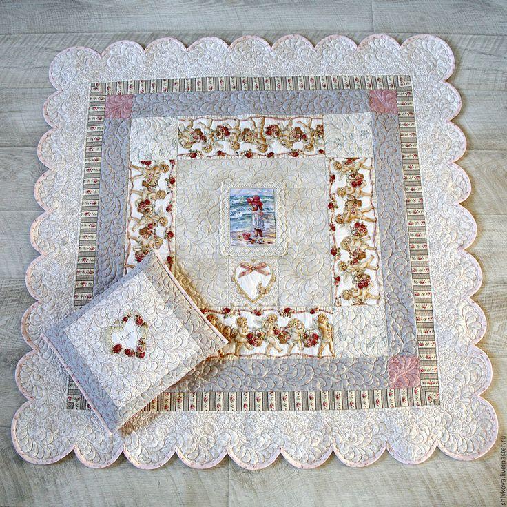 """Купить комплект """"25й ангел"""" - комбинированный, одеяло, одеялко, стеганое одеяло, одеяло с ангелами, ангелы"""