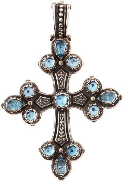 Konstantino Aquamarine Silver Cross Pendant in Silver