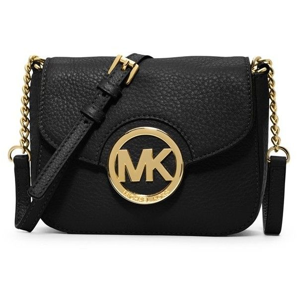 MICHAEL Michael Kors 'Small Fulton' Crossbody Bag ($111) ❤ liked on Polyvore featuring bags, handbags, shoulder bags, purses, clutches, accessories, michael kors, black, black cross body purse and leather crossbody handbags